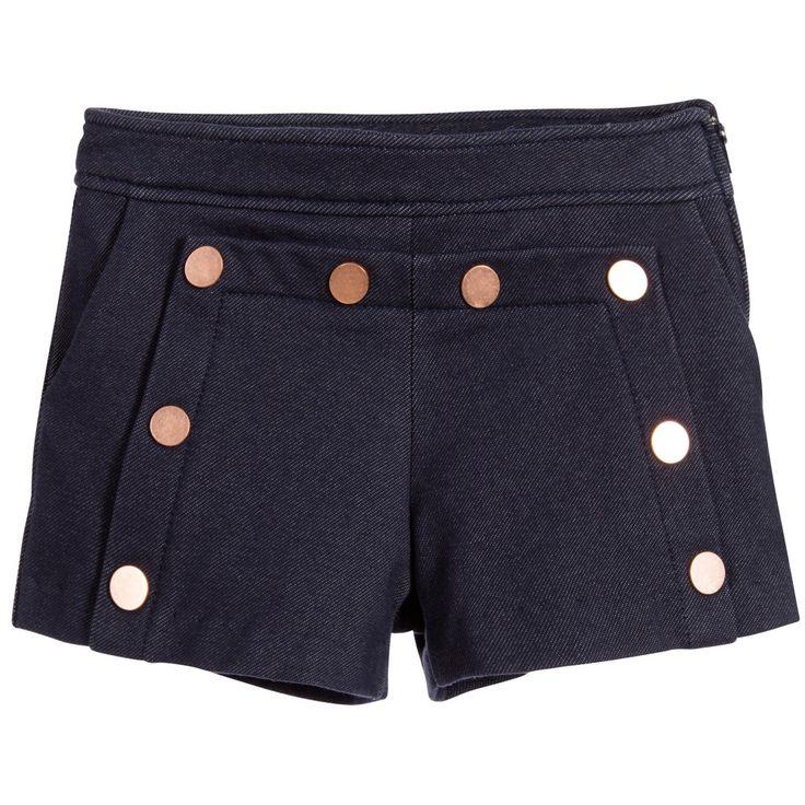 Lili Gaufrette Girls Blue Cotton Jersey Shorts at Childrensalon.com