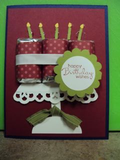 using candy as candle, wrapped with ribbon--nice treat on card!