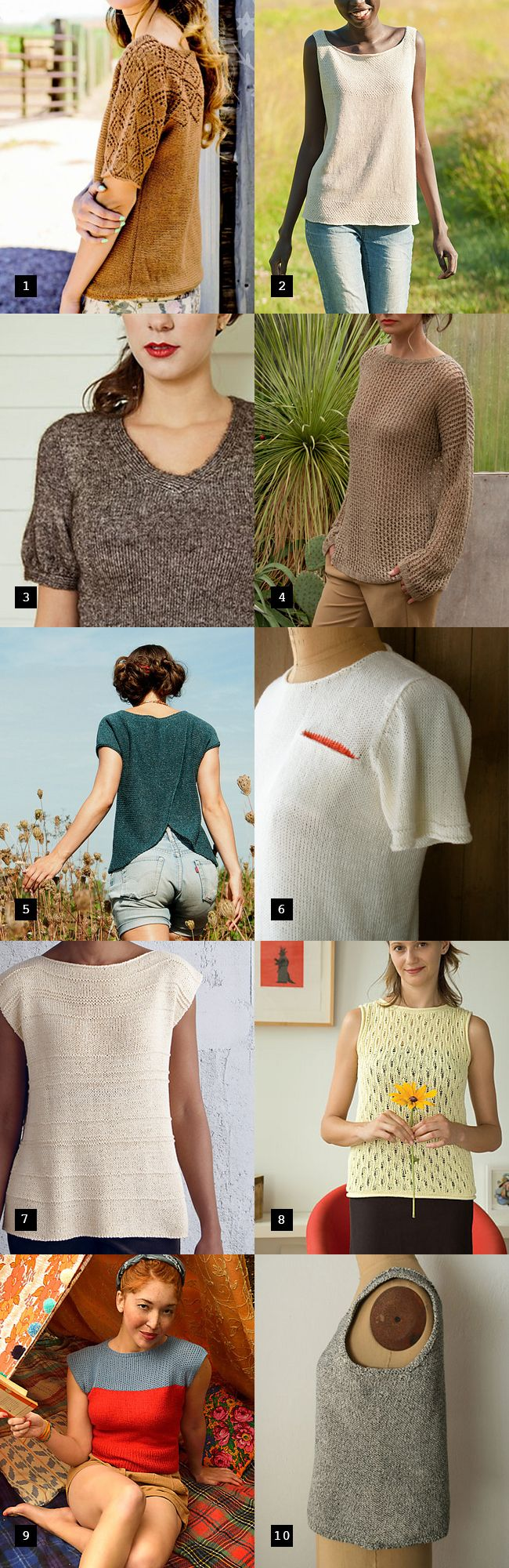 Best summer sweater knitting patterns. Knitted T Shirt patterns. Post by Fringe Association.