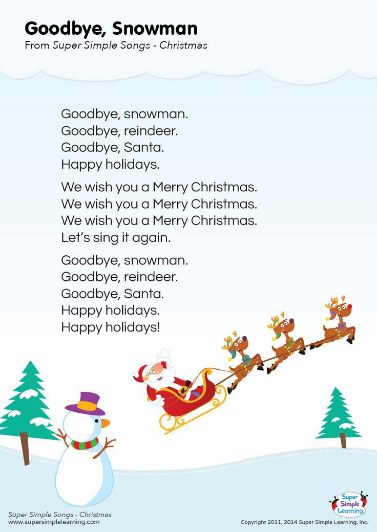 """Lyrics poster for """"Goodbye, Snowman"""" Christmas song from Super Simple Learning. #kidssongs #kindergarten #ESL"""
