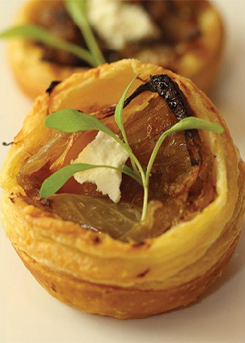 caramalised onion tarts