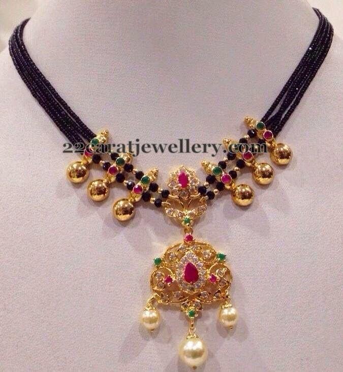 Jewellery Designs: Black Beads CZ Short Set