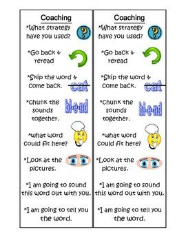 "Print front and back to make double sided bookmarks. Have students use these bookmarks when they are reading with a buddy during ""read to someone time"". The ""coaching"" side will help students assist their partners without just telling them a word or the answer. The ""check for understanding"" side will help partners ask questions about the book they are reading."