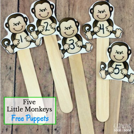 Print these free five little monkeys puppets and enjoy retelling the story. Plus, there are two more literacy ideas to use with the puppets.