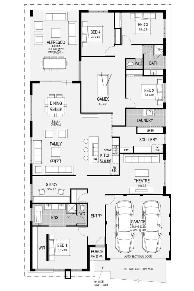 Check out the beautiful #Vienna display home's #floorplan here. A 4 x 2 with a scullery and large open spaces for entertaining guests. #HomeGroupWA