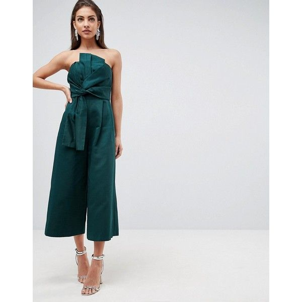 ASOS Jumpsuit in Structured Fabric with Knot Front and Drape Detail (€83) ❤ liked on Polyvore featuring jumpsuits and green
