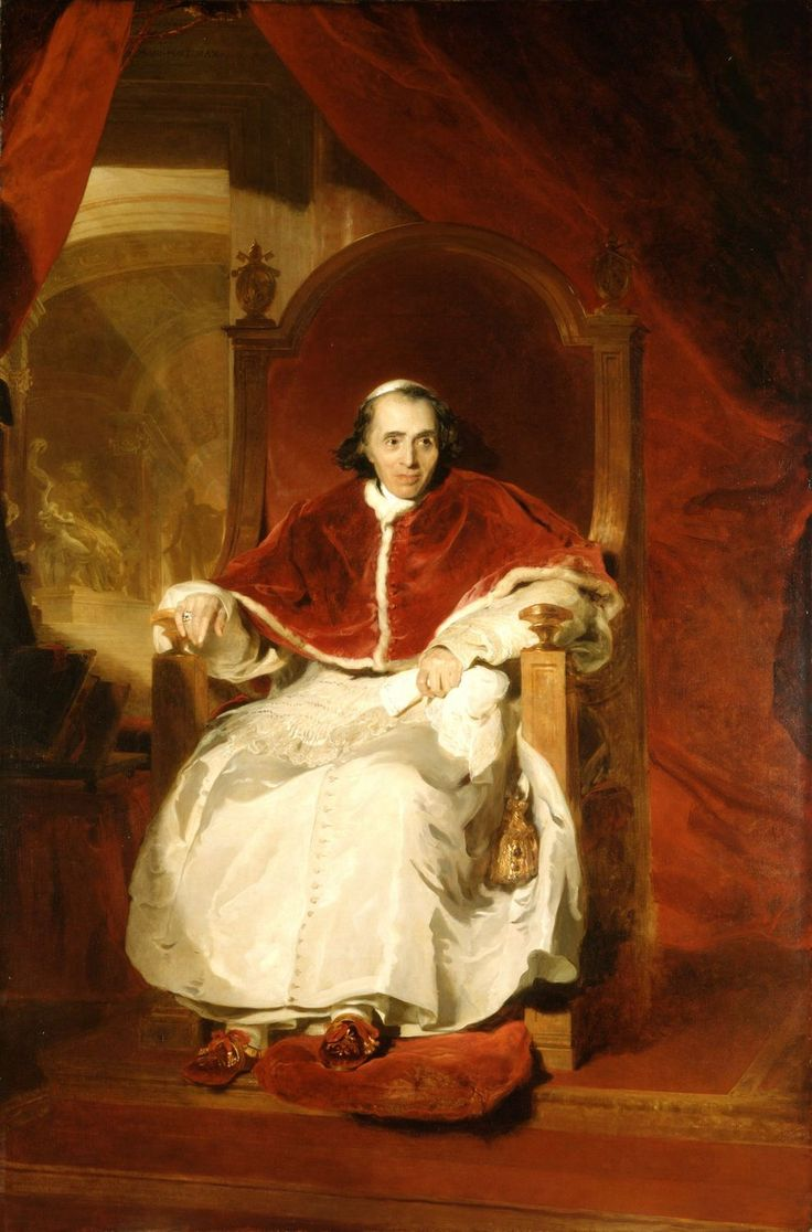 1819 - Pope Pius VII (1742-1823)  by Sir Thomas Lawrence (1769-1830)  Commissioned by George IV in 1819 for £525  Thomas Lawrence dominated the art of portrait painting in England for forty years, undertaking commissions for the future George IV from 1814.: Oil Paintings, Sir Thomas, Portraits Paintings, Pius Vii, Pope Paintings, Music Art, Pope Pius, Thomas Lawrence, Napoleon Bonaparte