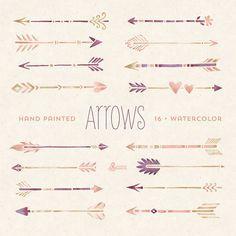 Gráfico de 16 flechas acuarela pintada a mano. por OctopusArtis