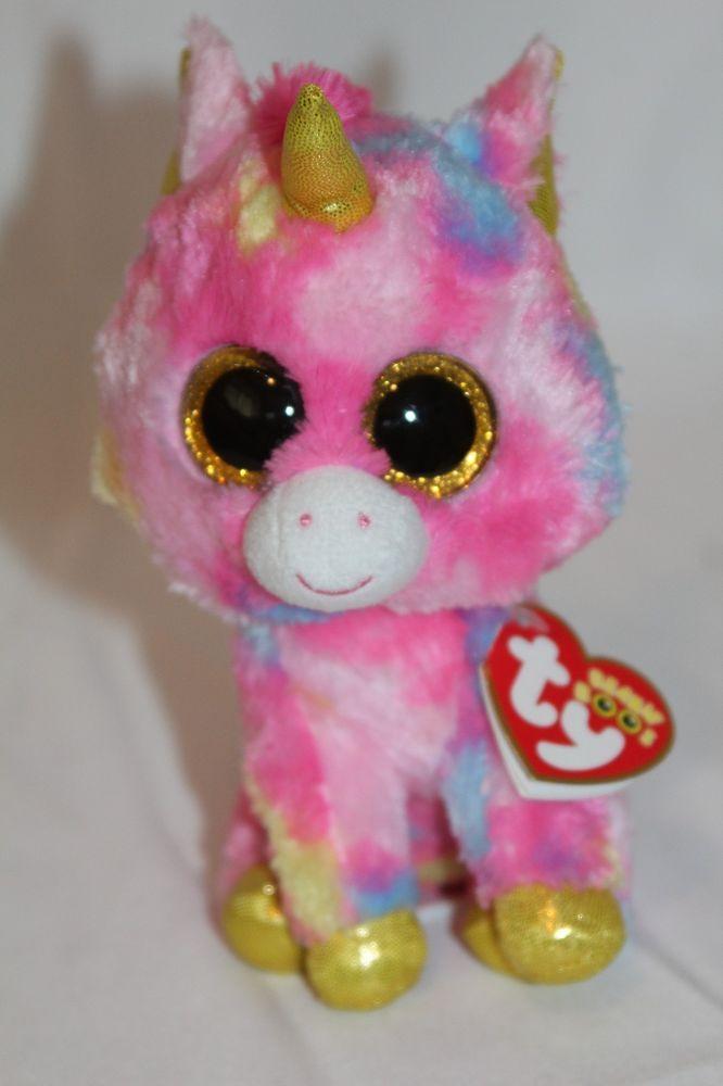 Ty Beanie Boo Fantasia the Unicorn PinK Spotted Plush Stuffed Animal New  Ty 7e4787fee2b