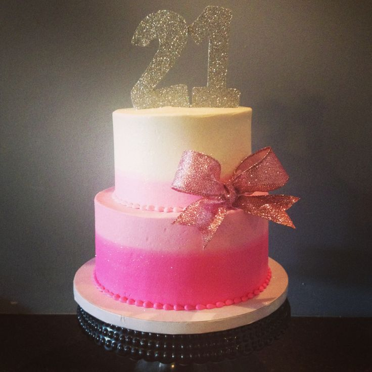 Birthday Cake Images Glitter : Pink ombre glitter 21st birthday cake Cami s Cake Co. in ...