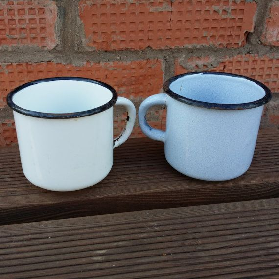 Vintage enamel mug. Set of 2 pieces. USSR от USSRVintageShopUSSR