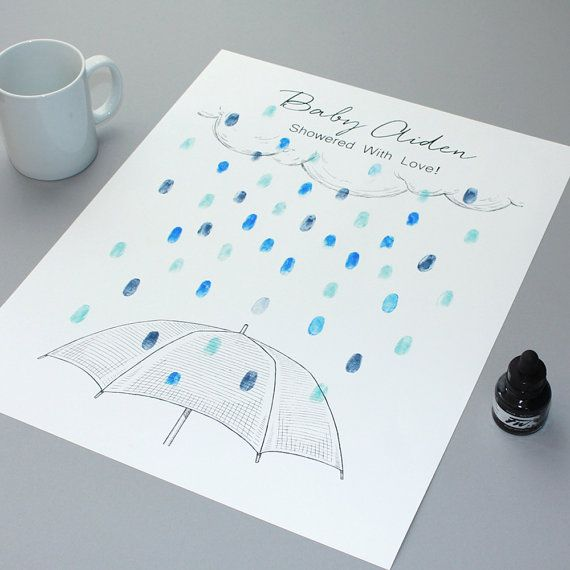 Baby Shower Guest Book  Rain Drops Baby Shower by GuestBookEnvy
