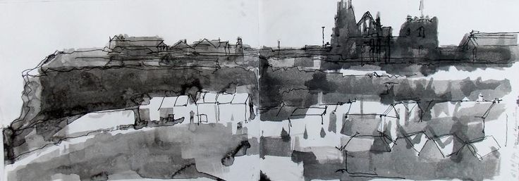 @RichardCrossArt The Abbey from the West Cliff at Whitby #drawingaugust #shetchbook #drawing