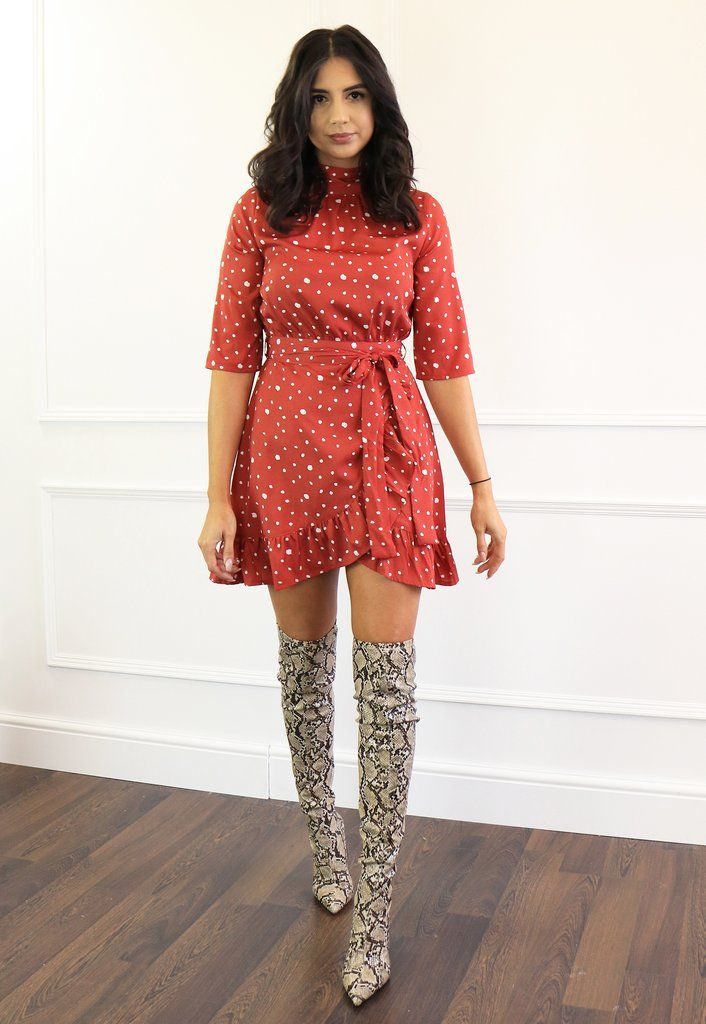 2cf617438e Irregular Polka Dot High Neck Fit & Flare Dress with Wrap Skirt in Rust Red