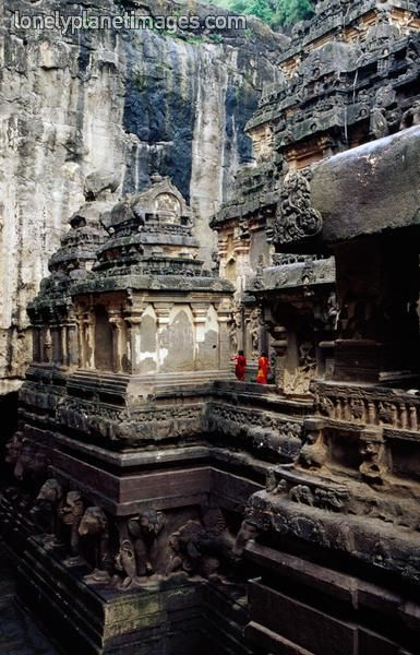 INDIA. Rock-cut temples of Ellora in Maharashtra, India, c.400-900 CE. // Everything carved wholly out of the rock face -- a breathtaking achievement!