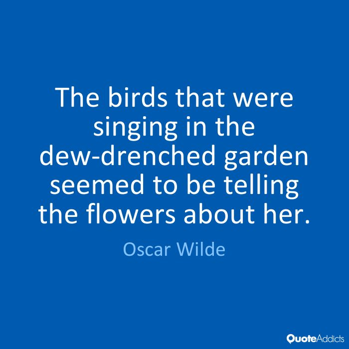 The birds that were singing in the dew-drenched garden seemed to be telling the flowers about her. - Oscar Wilde