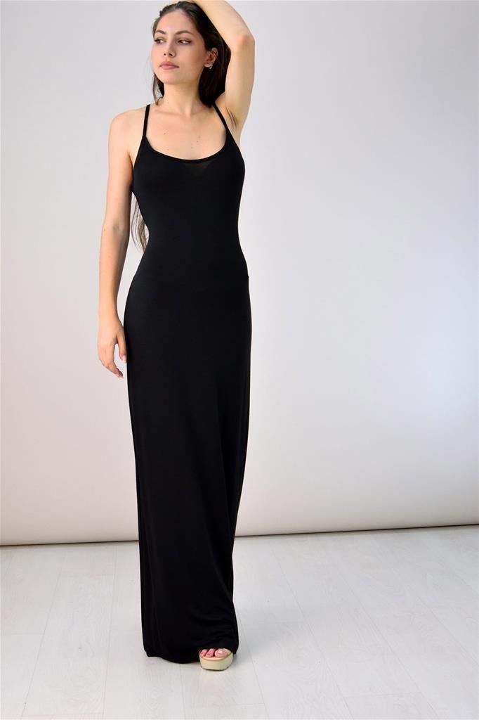 Potre – Μακρύ φόρεμα με μεγάλο άνοιγμα πλάτης