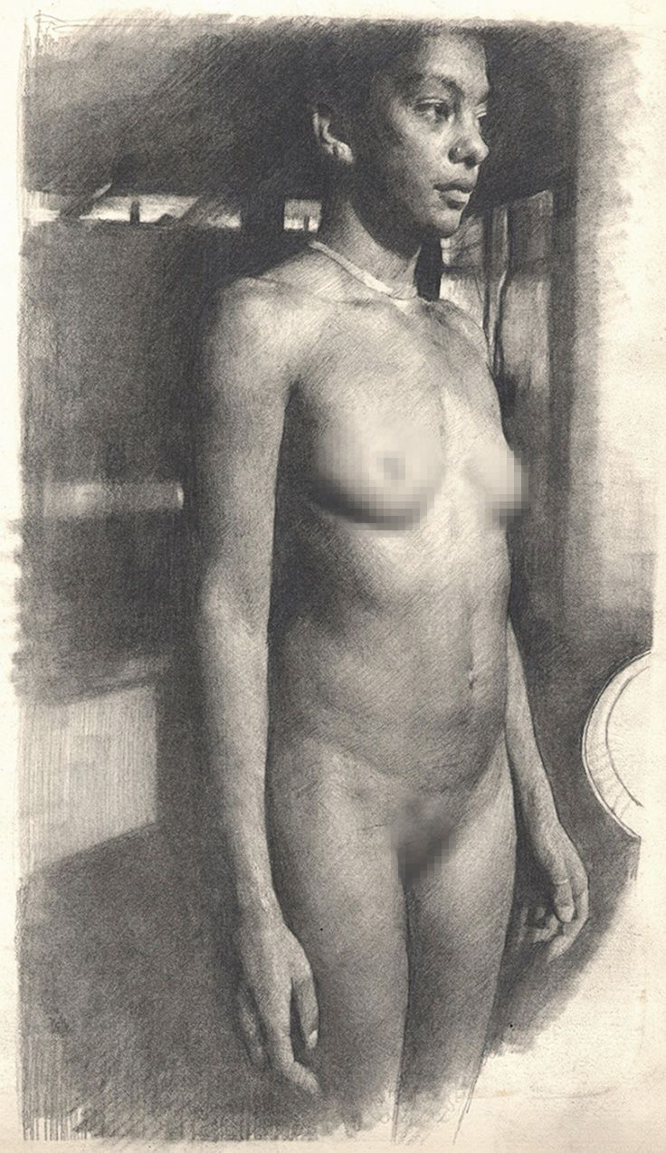 """""""Standing Female Front"""" by Michael Grimaldi, nude African-American black woman…"""