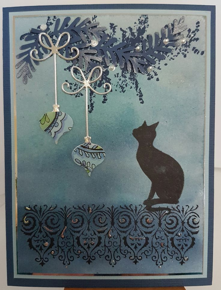Witches Cat by Lavinia Stamps; Bauble Brush 3876F by Stamp-it: Ornate Border by (unknown); Precious Ornaments 98724 die by Memory Box. Card by Susan of Art Attic Studio