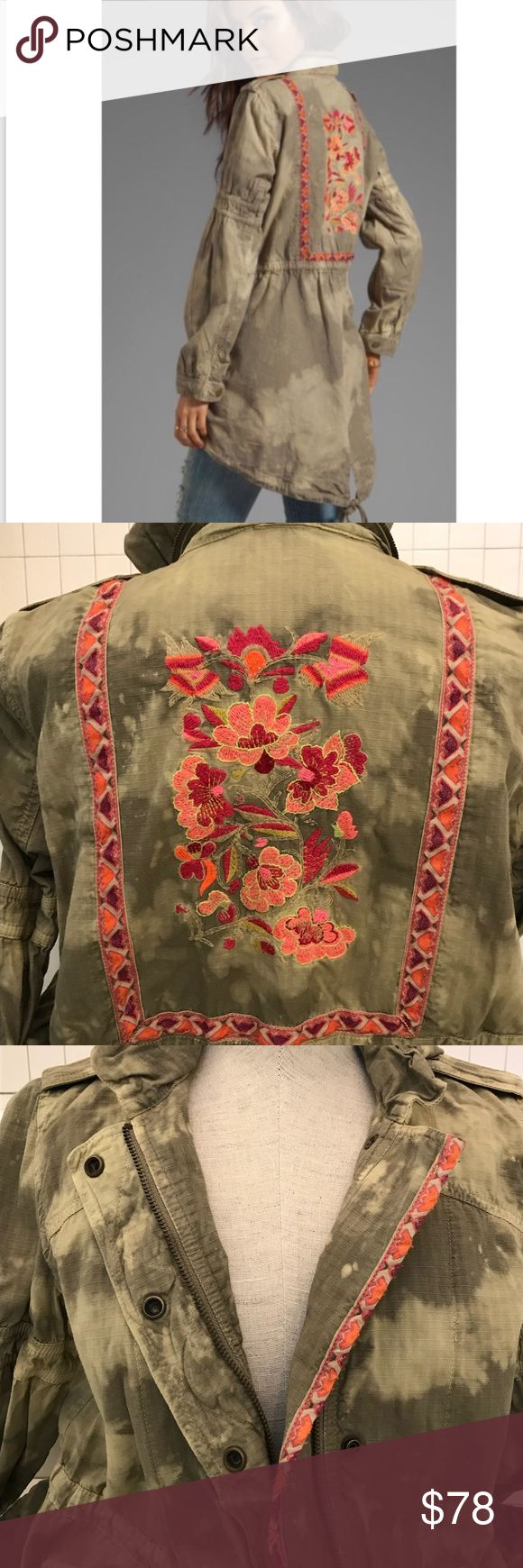 """Free People Embriodered Festival Anorak Jacket Tie dye / acid wash fades a surplus jacket cinched into a unique shape by plenty of utilitarian details. Embroidery trims the placket and continues on the back, creating a framed floral accent. Approx. length from shoulder: front 31""""; back 34"""". Zip front with snap closure. Stow-away hood. Snap epaulets. Snap and hook-and-loop cuffs. Front hidden-snap flap pockets. Drawstring at waist. Split back hem with drawstring tie. Cotton; machine wash. By…"""