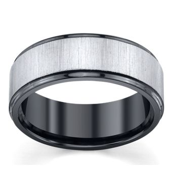 Black Zirconium And Sterling Silver 8mm Wedding Band By Lashbrook