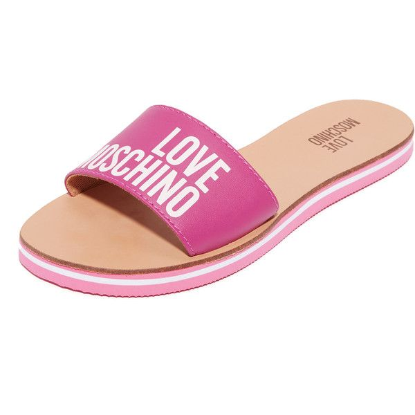 Moschino Love Moschino Sandals ($67) ❤ liked on Polyvore featuring shoes, sandals, fuchsia, fuschia shoes, faux leather sandals, vegan sandals, fuchsia shoes and moschino sandals