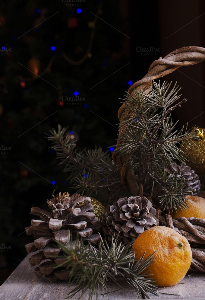 Christmas card with fir branches and decoration by Wild Drago Shop on…