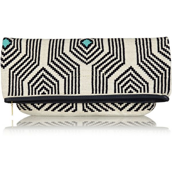 Sophie Anderson Camille leather-trimmed crocheted cotton clutch (535 CAD) ❤ liked on Polyvore featuring bags, handbags, clutches, navy, crochet purse, navy blue handbags, lightweight handbags, crochet handbags and white purse