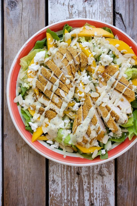 Crispy Chicken Mango Salad with Goat Cheese & Honey-Mustard Poppy Seed Dressing