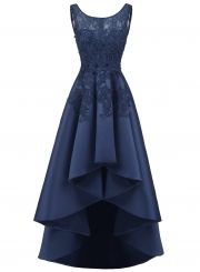 The dress is featuring round neck, sleeveless, lace panel, simpel color and high low hemline.