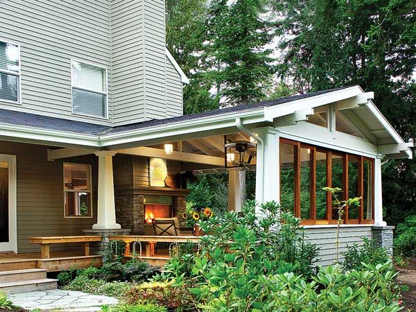 This garden room is open on two sides and provides flexible options for outdoor living. The summer deck was transformed into an all-season outdoor room when the owners decided to add a roof, a fireplace, and walls that slide closed in stormy weather.