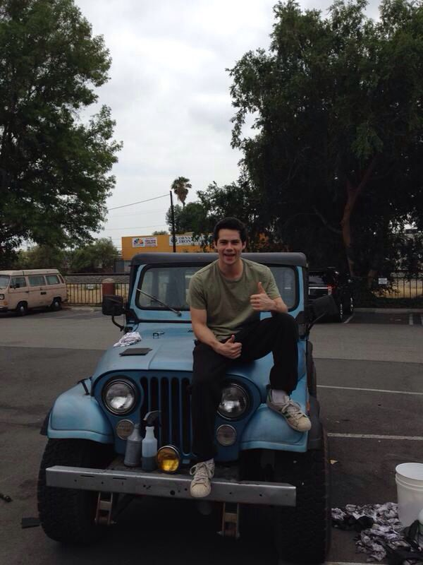 Dylan O'Brien with his character, Stiles, Jeep