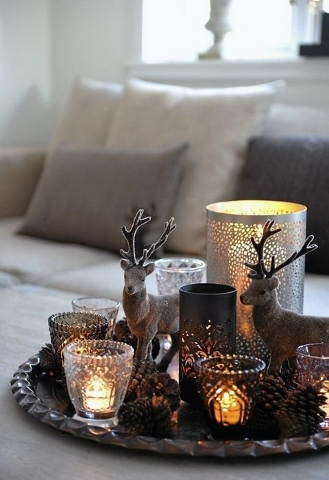 rustic winter centerpiece