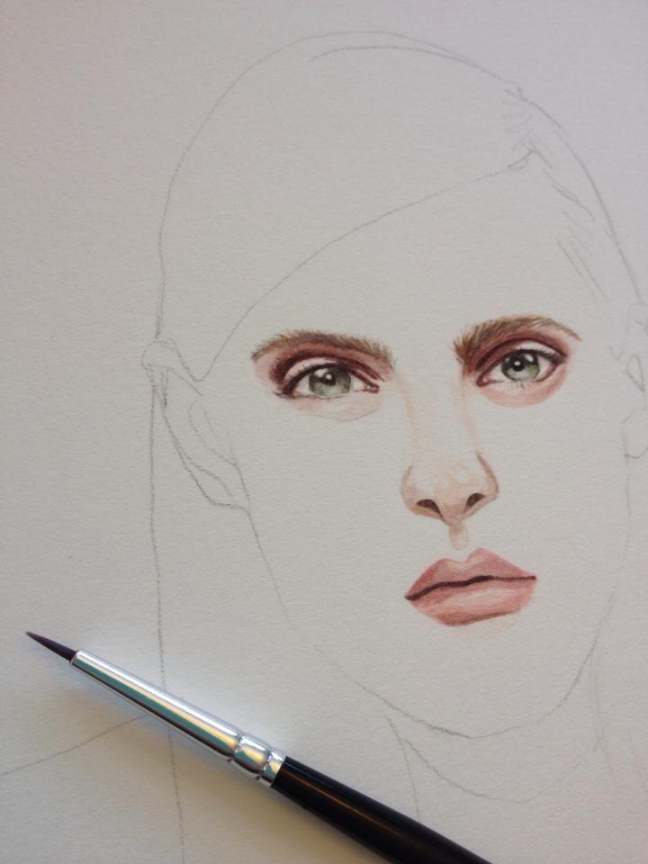 Amanda Burnett Illustration Watercolour portrait  http://amandaburnettillustration.tumblr.com/