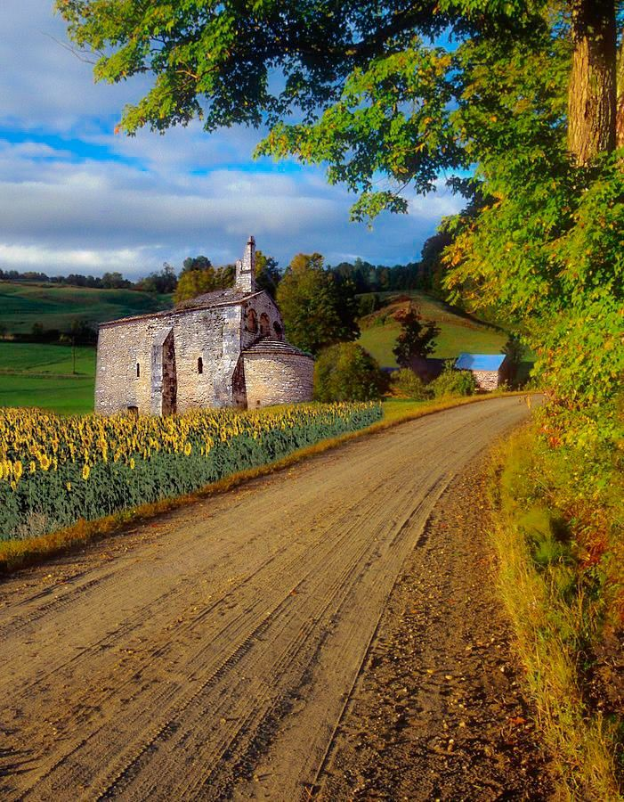 Old church on a country lane (Provence, France) by Dave Mills