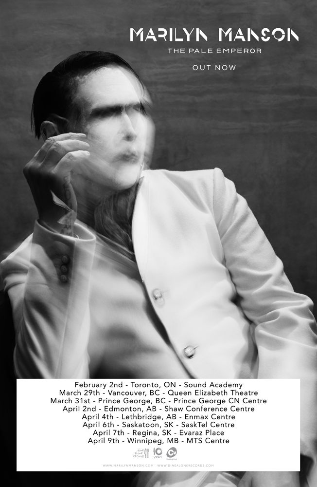 Marilyn Manson just released his 9th studio album, THE PALE EMPEROR. Manson will make his way to Canada for a handful of stops, including Toronto, Vancouver, Winnipeg and more.