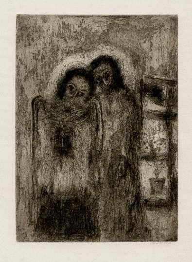 Bohuslav Reynek Veronika s Kristem II / Veronica with Christ suchá jehla / dry point 24,8 x 18 cm, 1951, otisk z původní desky, opus G 295