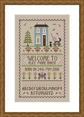 New Baby Birth Sampler cross stitch chart by email