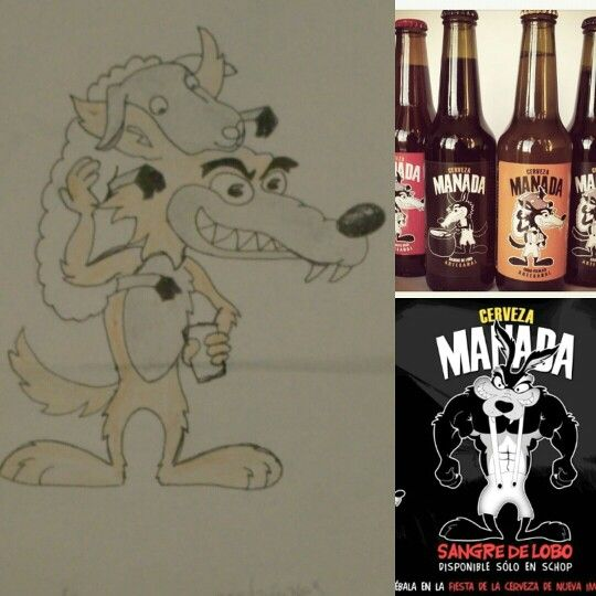 Dibujo de personaje para cerveza manada