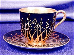 Royal Worcester Art Nouveau jeweled demi cup & saucer