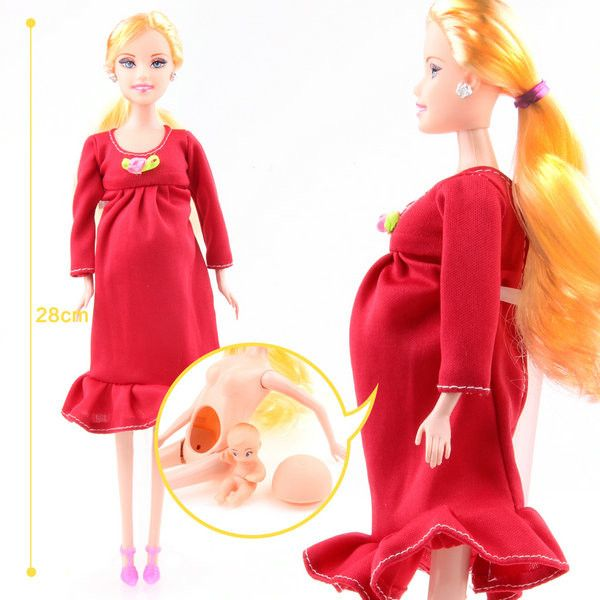 UCanaan New Educational Real Pregnant Doll Suits Mom Doll Have A Baby in Her Tummy Best Friend Play with Girls Toys Best Gift