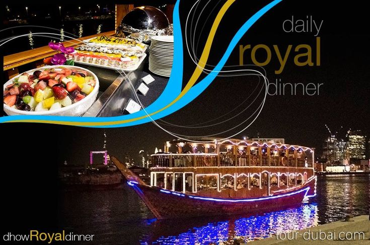 Daily Dinner on luxurious #dhow cruise - floating restaurant by @Tour Dubai the masters of tourism since 1987.   #enjoy Royal Dinner over 2 hours tour in #dubai #creek or #marina which includes #open buffet catered by #5star #hotel and amazing skyline.    Book your seat: tour-dubai.com 800TOURDUBAI 043368407 #Travel #holiday #lesiure #tour #dinner #off