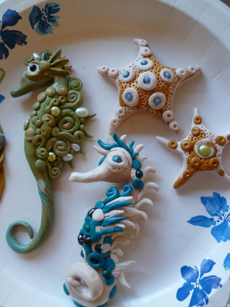 Polymer Clay Seahorses and star fish by Venusmoon2313.deviantart.com on @deviantART