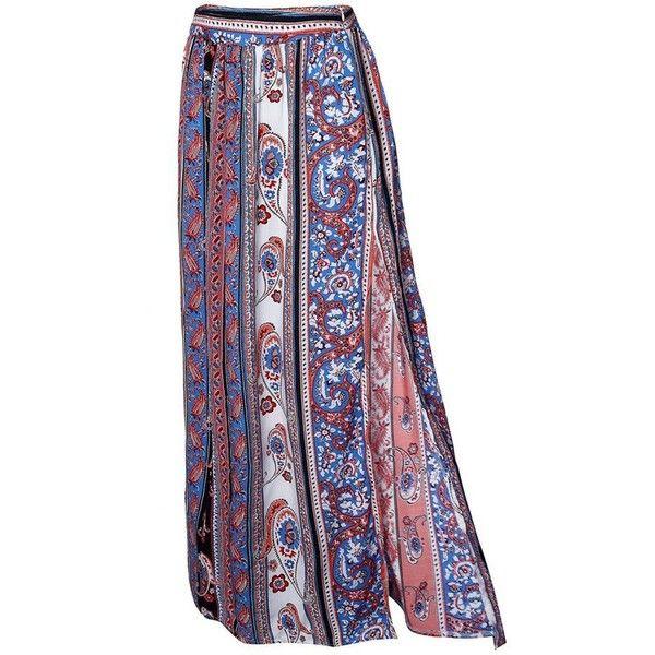 Boho Women Floral Printed Long Split Maxi Skirt Casual Beach Skirt (49 MYR) ❤ liked on Polyvore featuring skirts, saia, print maxi skirt, long bohemian skirts, long maxi skirts, maxi skirt and long ankle length skirts
