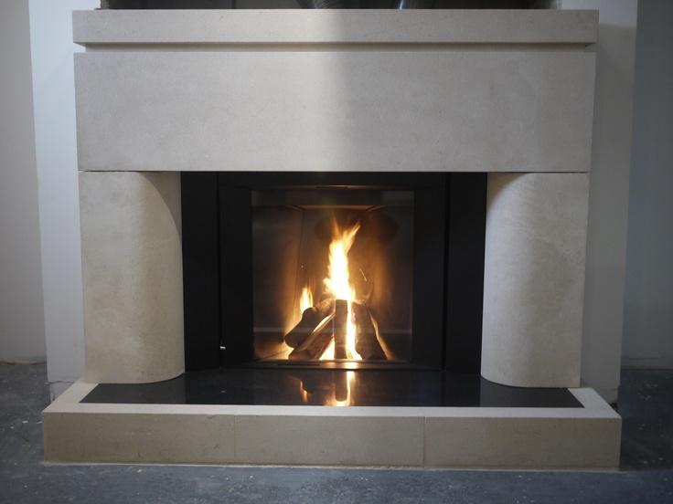 New Moderna Bath stone surround with Stuv wood burner
