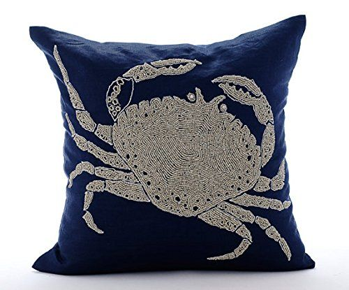 Navy Blue Cushion Covers, Beaded Crab Sea Creatures Ocean... https://www.amazon.co.uk/dp/B016H8WGKU/ref=cm_sw_r_pi_dp_x_YcKxybP3WPBPH
