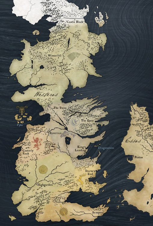 Westeros. Am I the only one who sees the old crone, the side-ways elephant and the upside-down raptor?