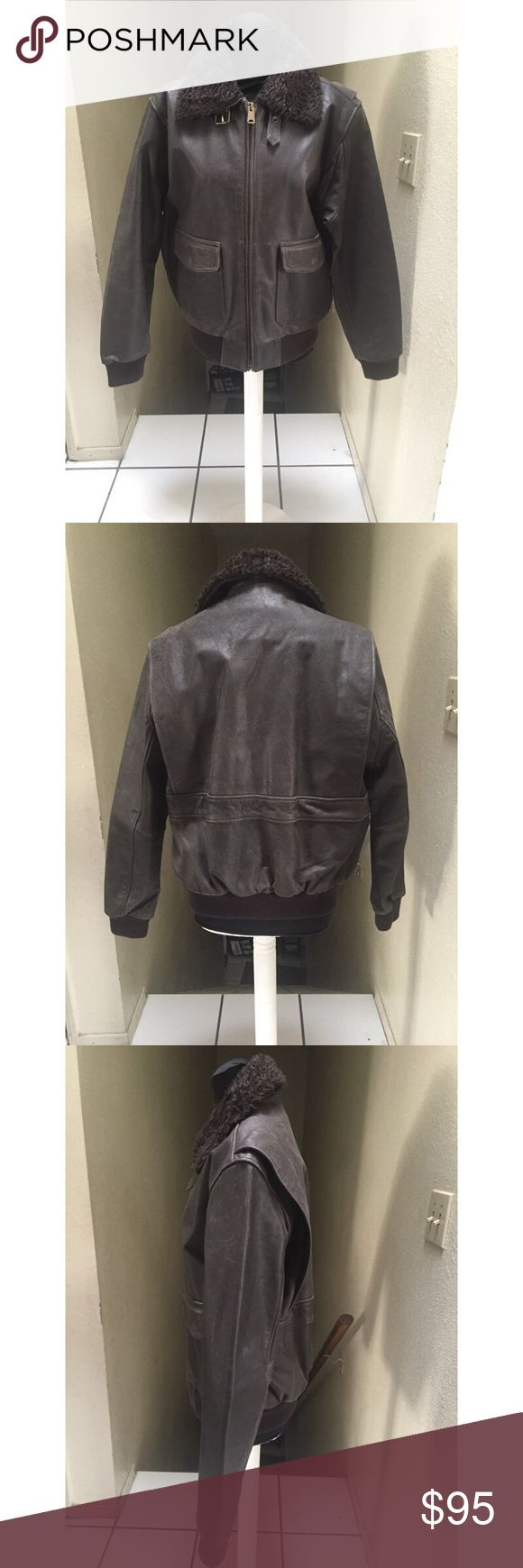 H&M Men's Leather Bomber Jacket Men's leather, brown, bomber jacket with faux fur collar, size medium. Marks on sleeve but can be removed with leather cleaner. Marks on garments gives it more of the vintage look. H&M Jackets & Coats Bomber & Varsity