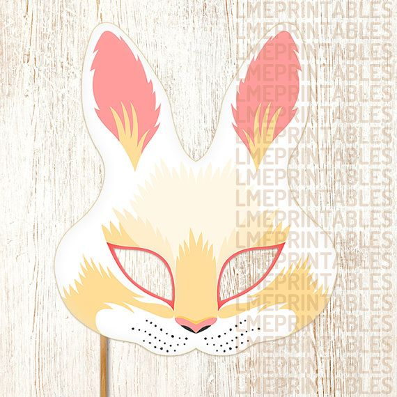 Rabbit Mask PDF File Ready to Print Cut and Enjoy! This item Include: • PDF files ready for printing and instructions for making the mask. • JPG files ready for printing and instructions for making the mask. Features: • Large eye holes for wearing comfort. • Paper Format A4: 21 x 29,7