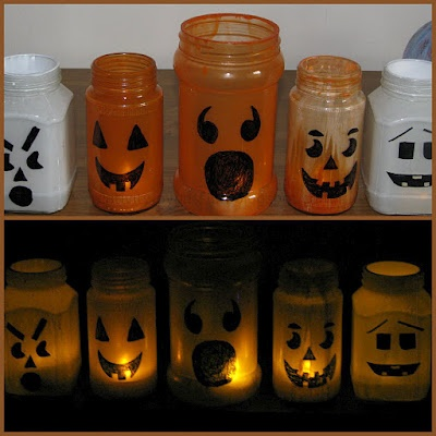 Colored bottles: Pumpkin and Ghost Luminary | Craft To Art
